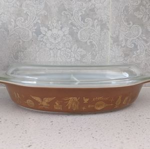 Pyrex Vintage Early American Divided Casserole Dish